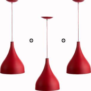 Kit 3 Lustres Pd Gota Pequena Alumínio 21cm Soquete E27 Vermelho