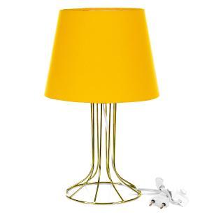 Abajur Torre Dome Amarelo Com Aramado Dourado