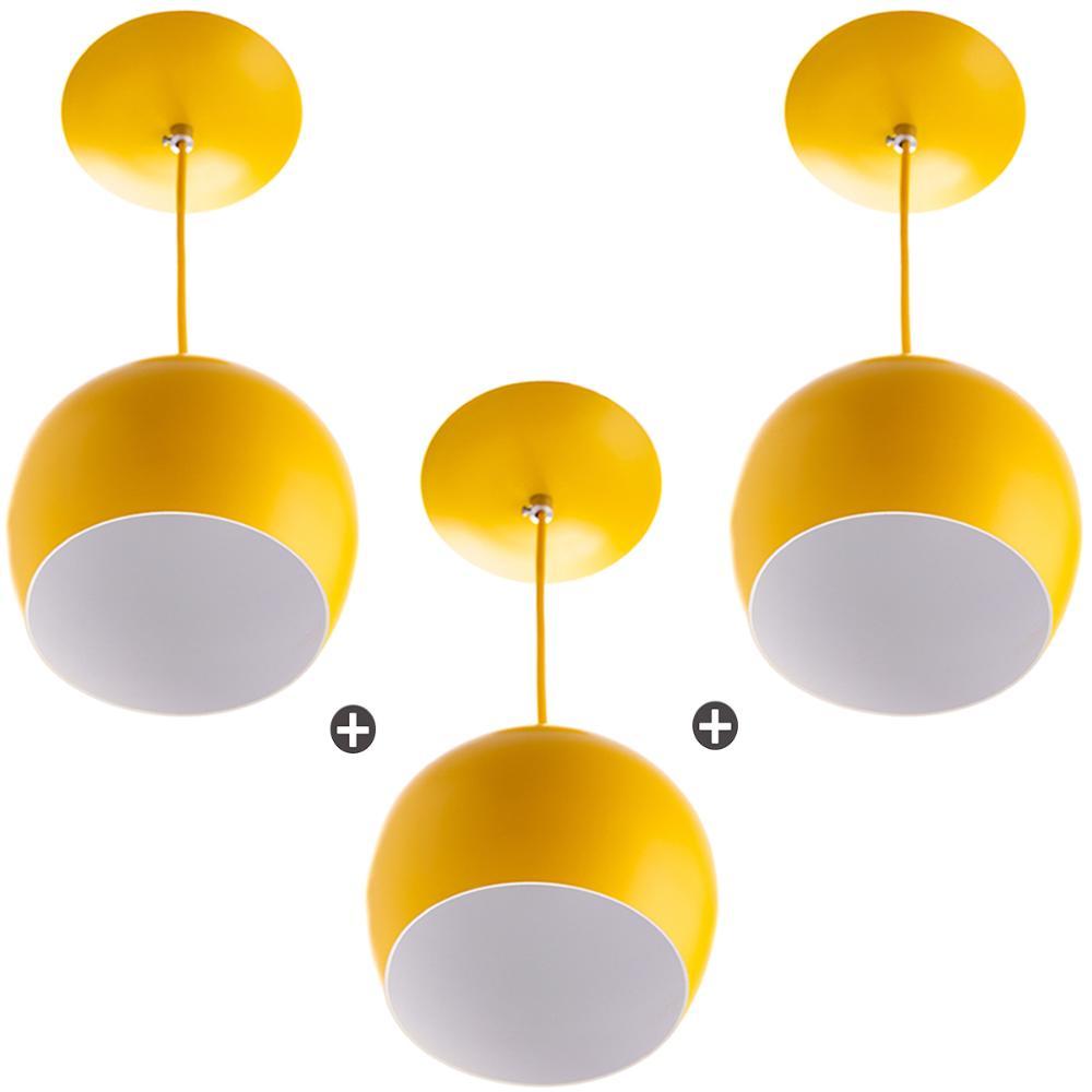 Kit 3 Lustres Pendente Bola Pequena Alumínio 15cm Amarelo