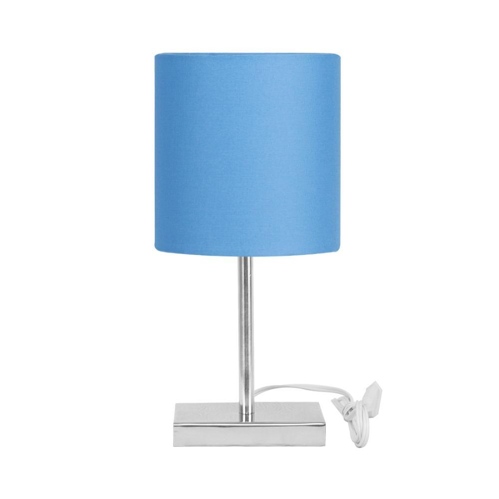 Abajur Eros Touch Cilindrico Azul Com Base Quadrada de Inox