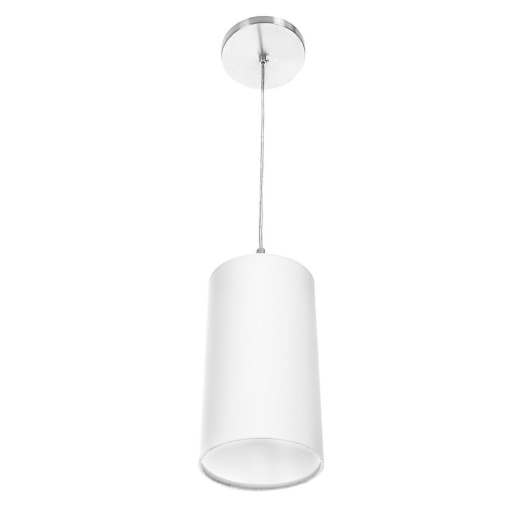 Lustre Pendente Cilindrica De Cupula 14x25cm Branco