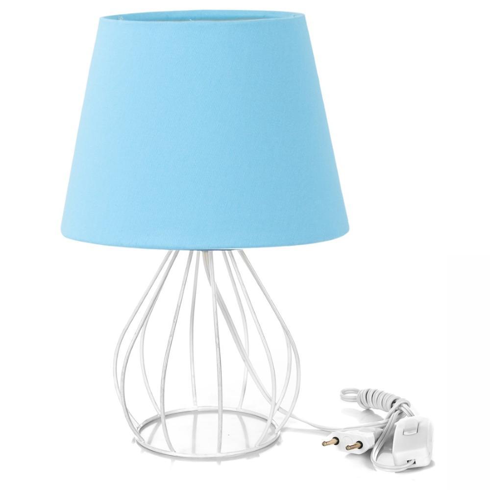 Abajur Cebola Dome Azul Bebe Com Aramado Branco