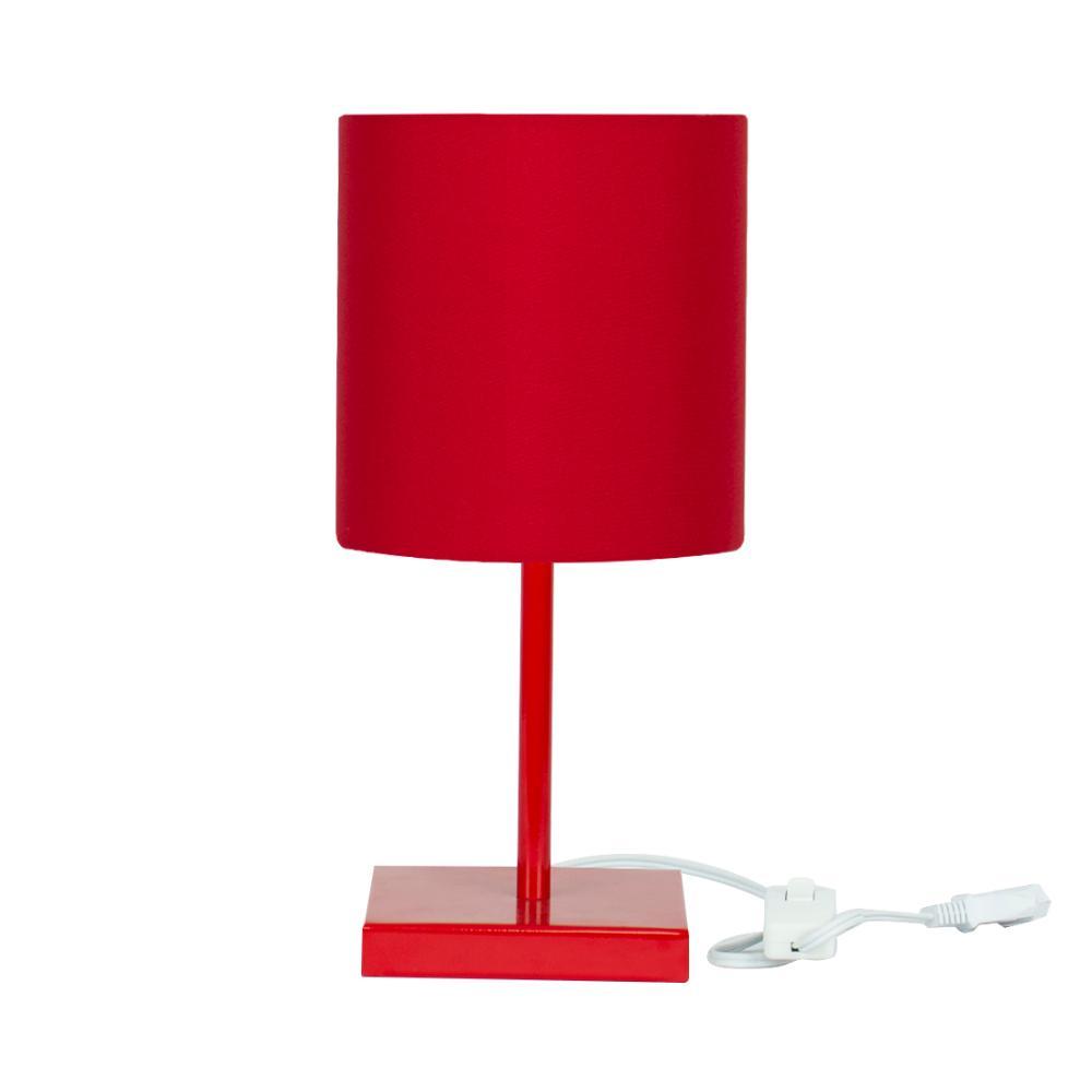 Abajur Eros Cilindrico Vermelho Base Toda Vermelha Quadrada