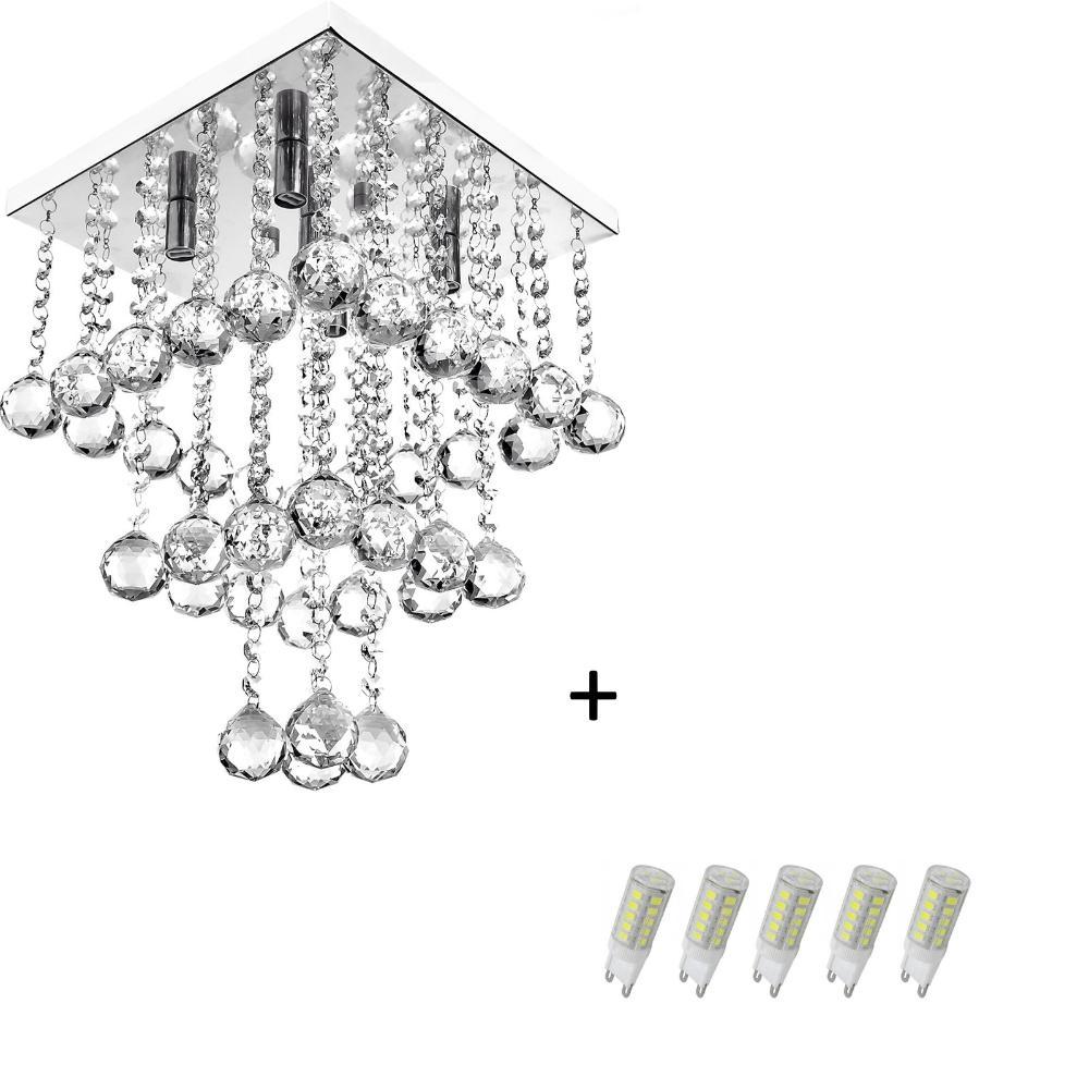 Lustre Pendente De Cristal Legitimo Classic Square Long 30 com Lâmpadas 6000K (Branca Fria)