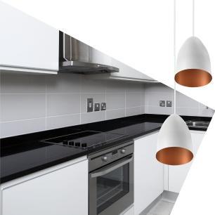 Pendente Cone Bala Sadan Aluminio Duplo Branco/Cobre