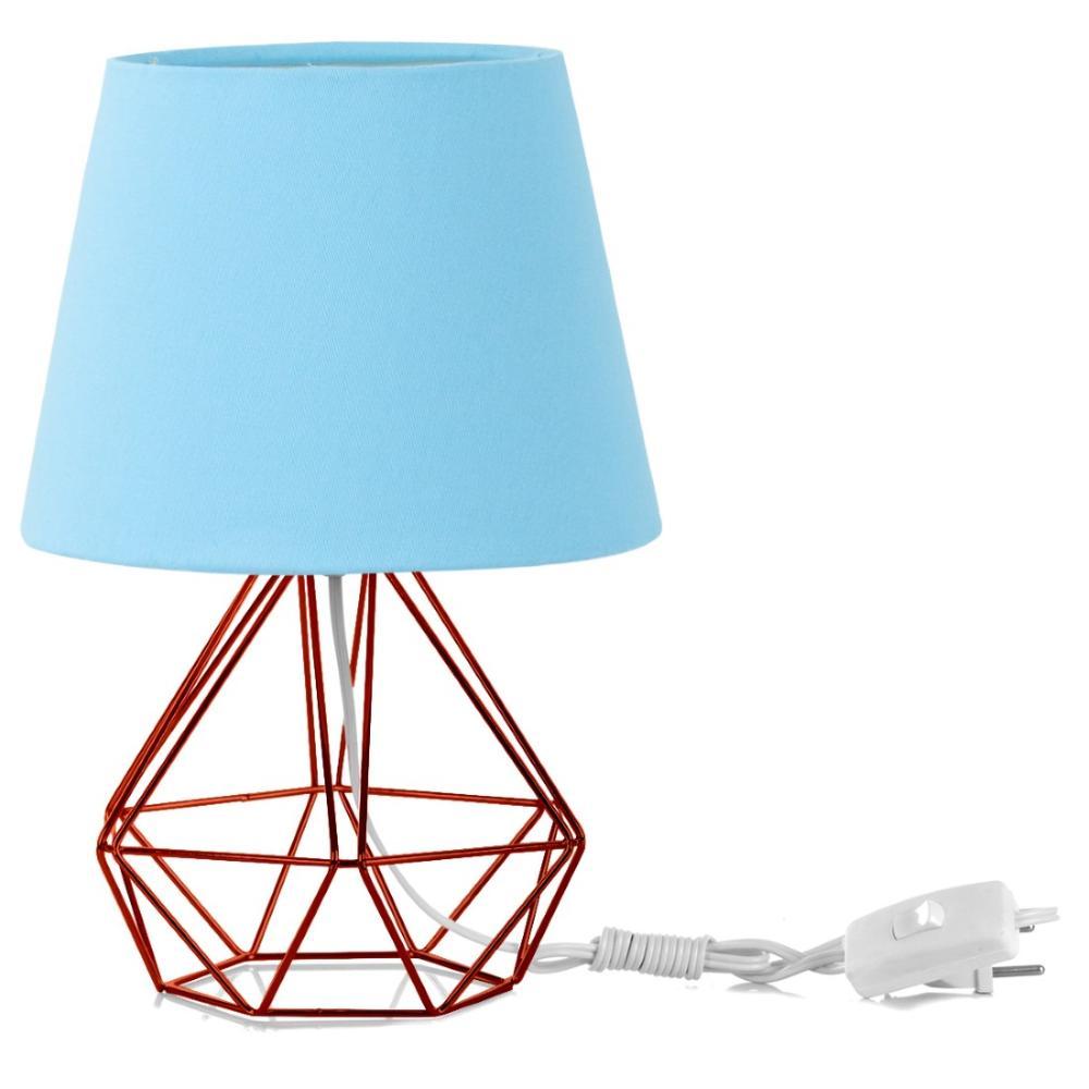 Abajur Diamante Dome Azul Bebe Com Aramado Cobre