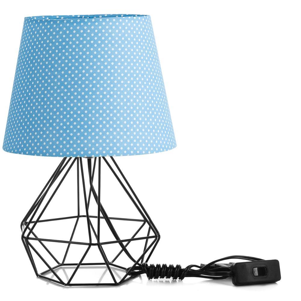 Abajur Diamante Dome Azul/bolinha Com Aramado Preto