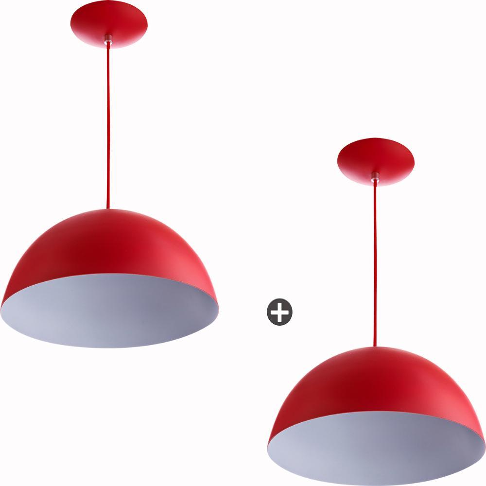 Kit 2 Lustres Pendente Meia Lua 30cm Alumínio Vermelha