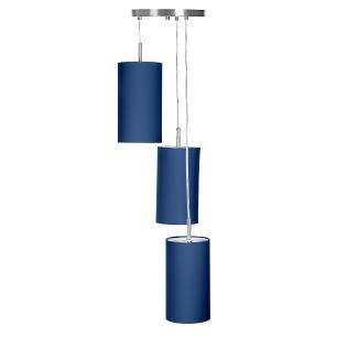 Pendente Cilindrica Triplo De Cupula 14x25cm Azul