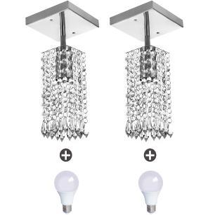 2 Lustres Clearcrillic Quadrado Cristal Acrílico + Lampada