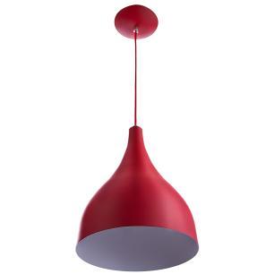 Lustre Pd Gota Media Alumínio 30cm Soquete E-27 Vermelho