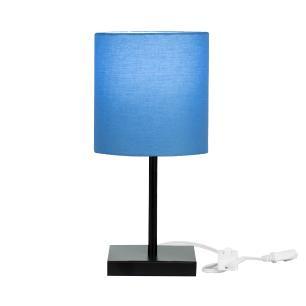Abajur Eros Cilindrico Azul Base Toda Preta Quadrada