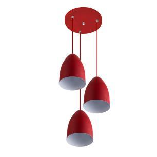 Pendente Cone Bala Sadan Aluminio Triplo Vermelho