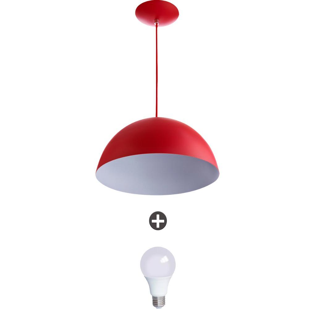 Pendente Meia Lua 40 Alumínio Vermelho Com Lampada