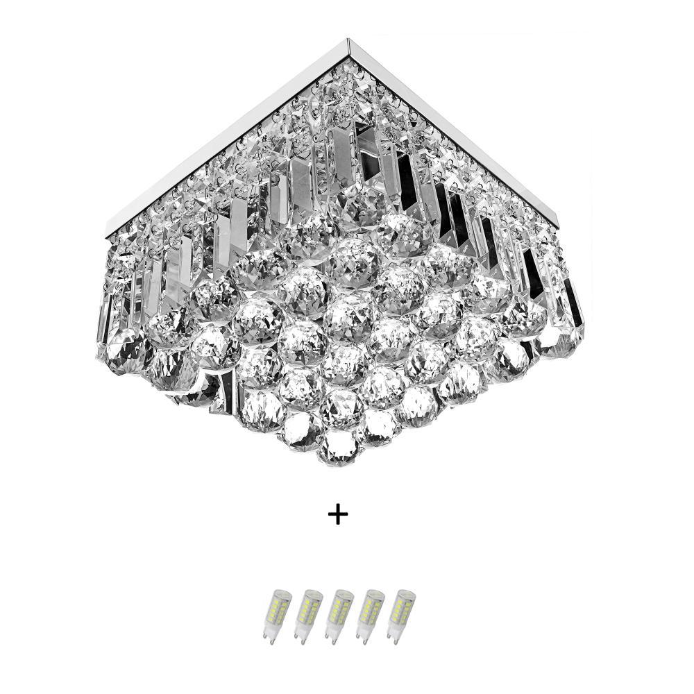 Lustre De Cristal Legitimo Wonderwall 30x30 com Lâmpadas 6000K (Branca Fria)