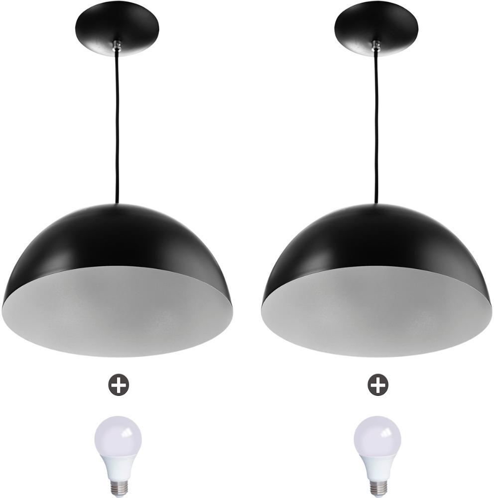 2 Lustres Pendente Meia Lua 40cm Alumínio Preto + Lampada