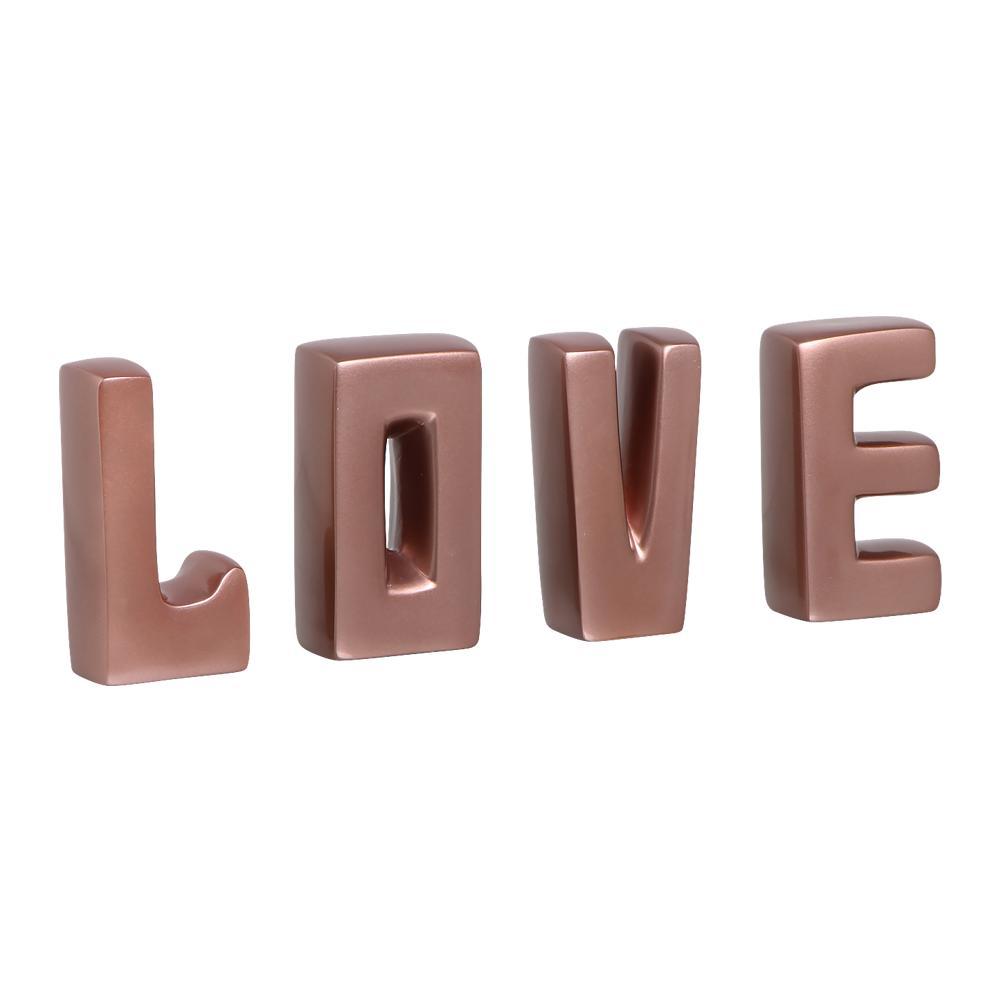 Palavra Love Letras Decorativas Cerâmica Rose Gold