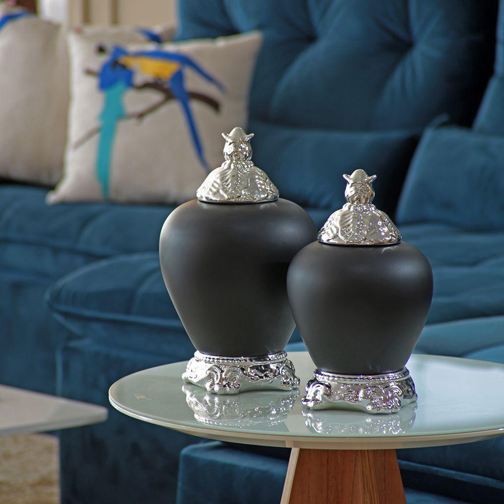 Dupla Pote Cairo Cerâmica Preto Fosco Com Detalhe Cromado