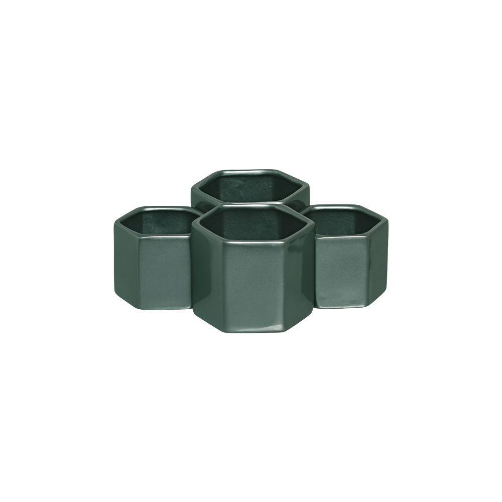 Conjunto Cachepot Vaso Sextavado G Em Cerâmica Verde Perolado