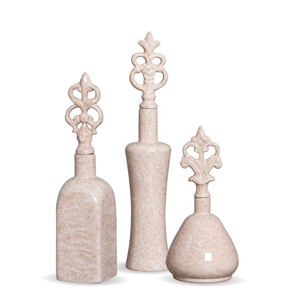 Garrafa Lins Trio  Enfeite Decoração Em Cerâmica Bege Petra