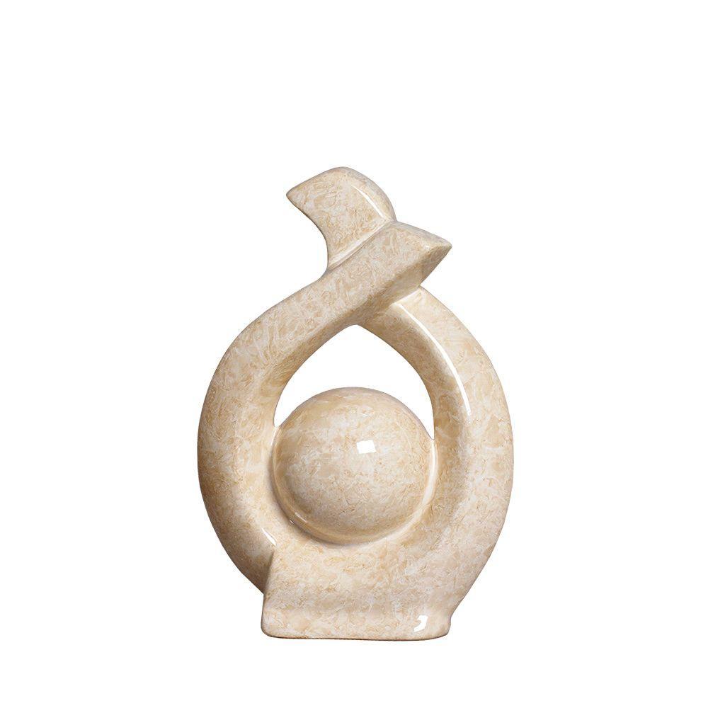 Escultura Mini Decoração Em Cerâmica Bege Petra