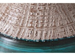 Garrafa Dubai Decoração Em Cerâmica Verde e Palha Dubai Kit