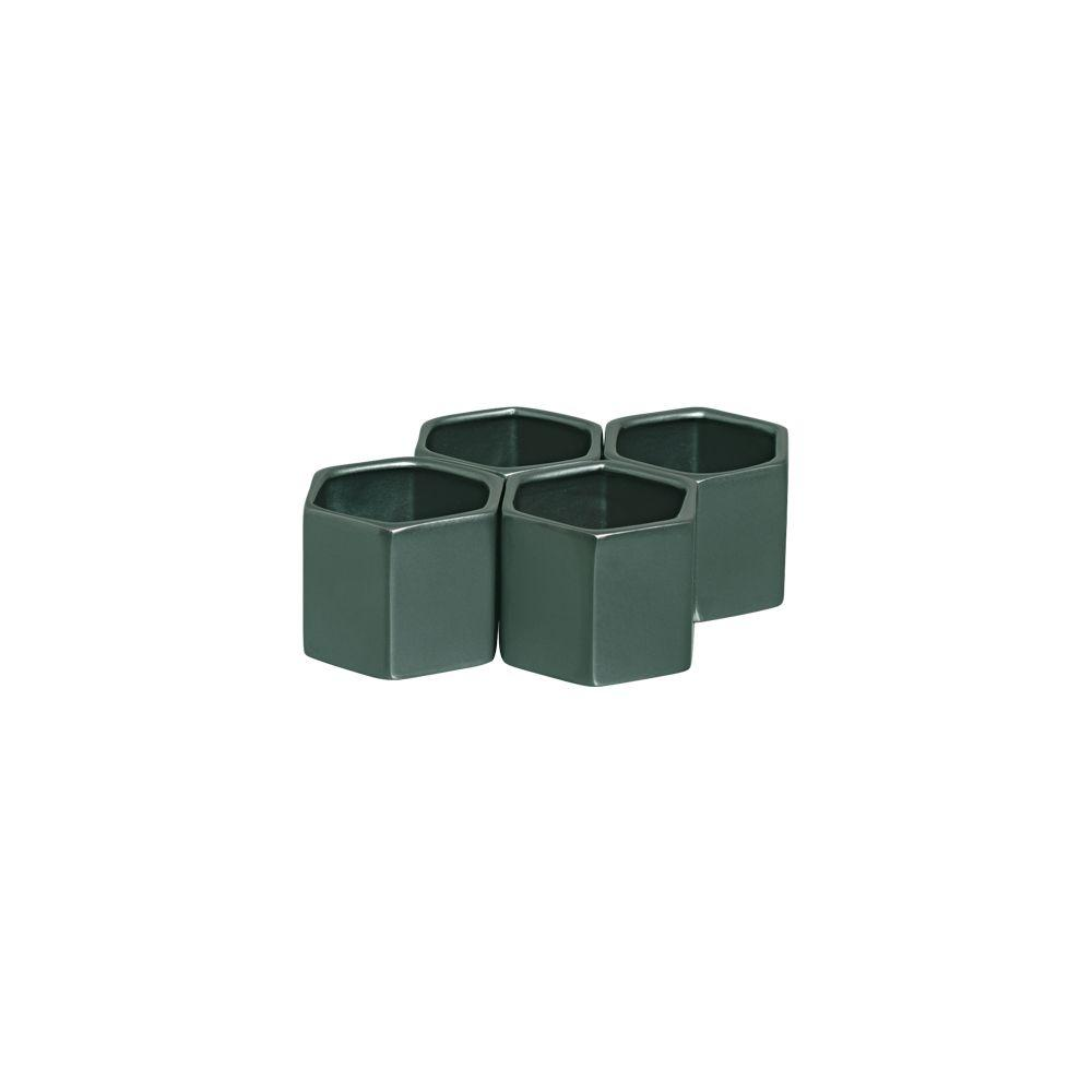 Kit Cachepot Sextavado P Vaso De Cerâmica Verde Perolado