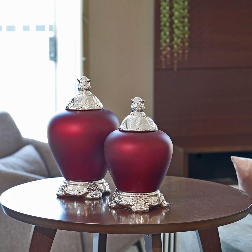 Pote Cairo G E P Cerâmica Vinho Fosco Com Detalhe Cromado