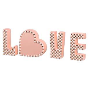 Palavra Love Enfeite De Mesa Coração Detalhes Cerâmica Rose