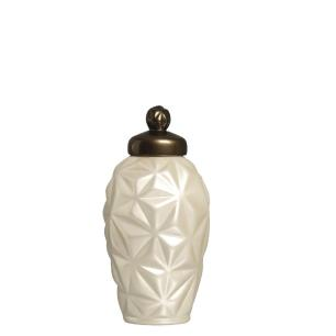 Pote Diamante P Decoração Em Cerâmica Fendi E Capuccino