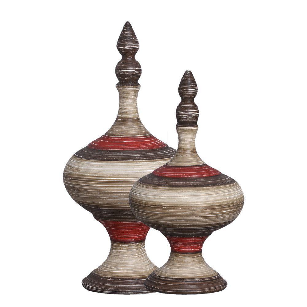 Dupla Pote Medieval Decoração Cerâmica Vermelho e Marrom Terracota