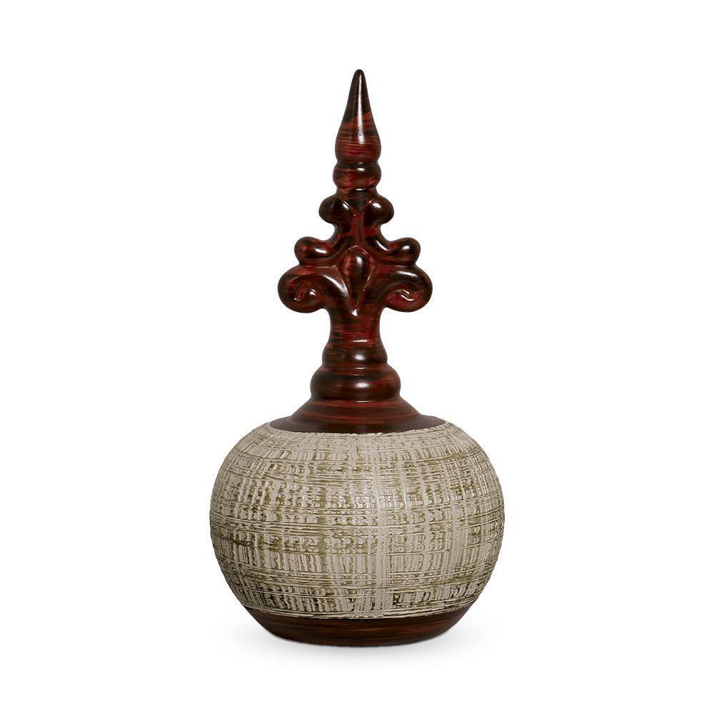 Pote Bojudo G Decoração Em Cerâmica Marrom E Palha Ganash