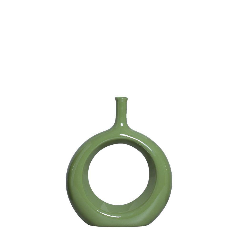 Garrafa Vazada P Decoração Em Cerâmica Verde Brilhante