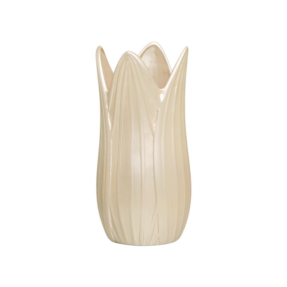 Vaso Decorativo Folha P Decoração Em Cerâmica Creme