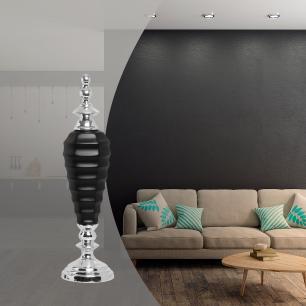 Pote Adhara G Com  Detalhe Cromado Cerâmica Preto Fosco