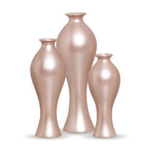 Trio Vaso Califórnia Decoração Em Cerâmica Rosé