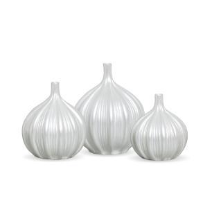 Trio Vaso Sevilha Decoração Em Cerâmica Pérola