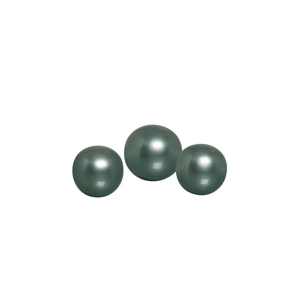 Esferas Enfeite De Mesa Decoração Em Cerâmica Verde Perolado