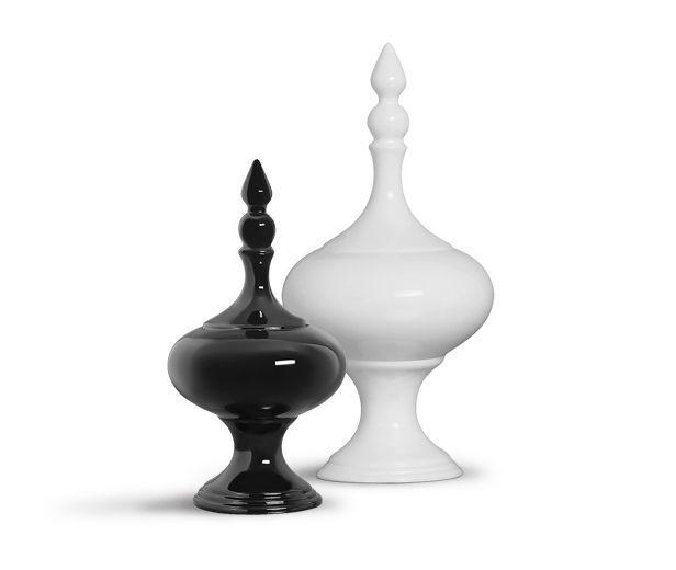 Dupla Pote Medieval Decoração Em Cerâmica Clássica Preta e Branca