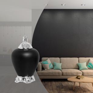 Pote Cairo G Com Detalhe Cromado Cerâmica Preto Fosco