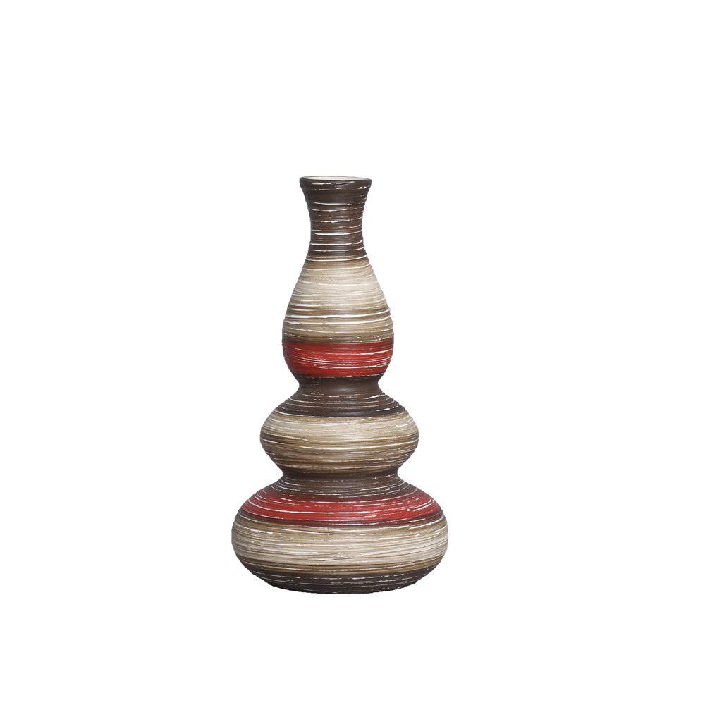 Vaso Antares P Decoração Cerâmica Vermelho e Marrom Terracota