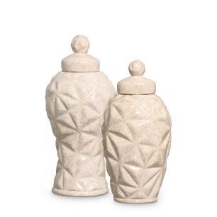Pote Diamante Bege G E P Kit Enfeite De Mesa Cerâmica Petra