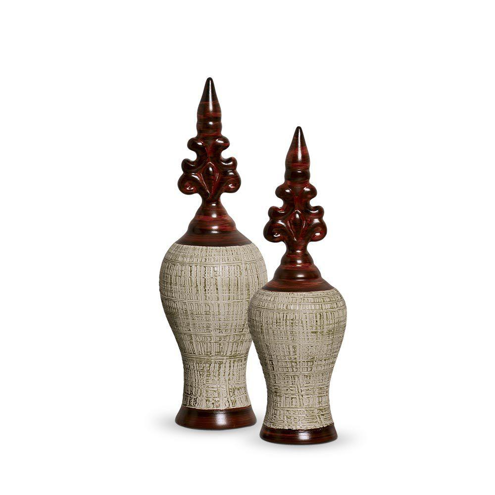 Dupla Pote Realce Decoração Em Cerâmica Marrom e Palha Ganash