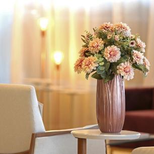Vaso  Decorativo Folha P Em Cerâmica Rose Gold