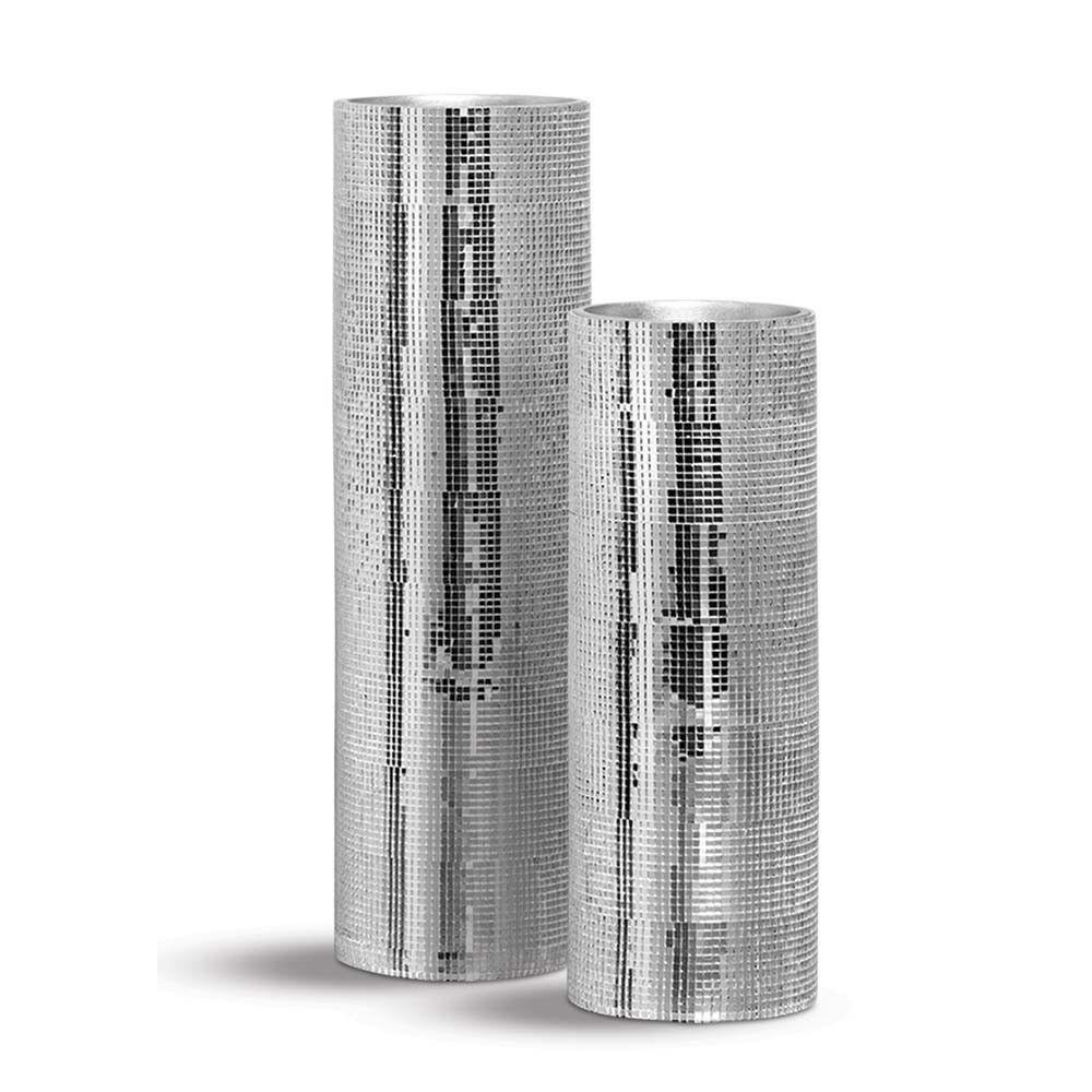 Vaso Cilindro Espelhado Enfeite De Mesa Cerâmica Shine