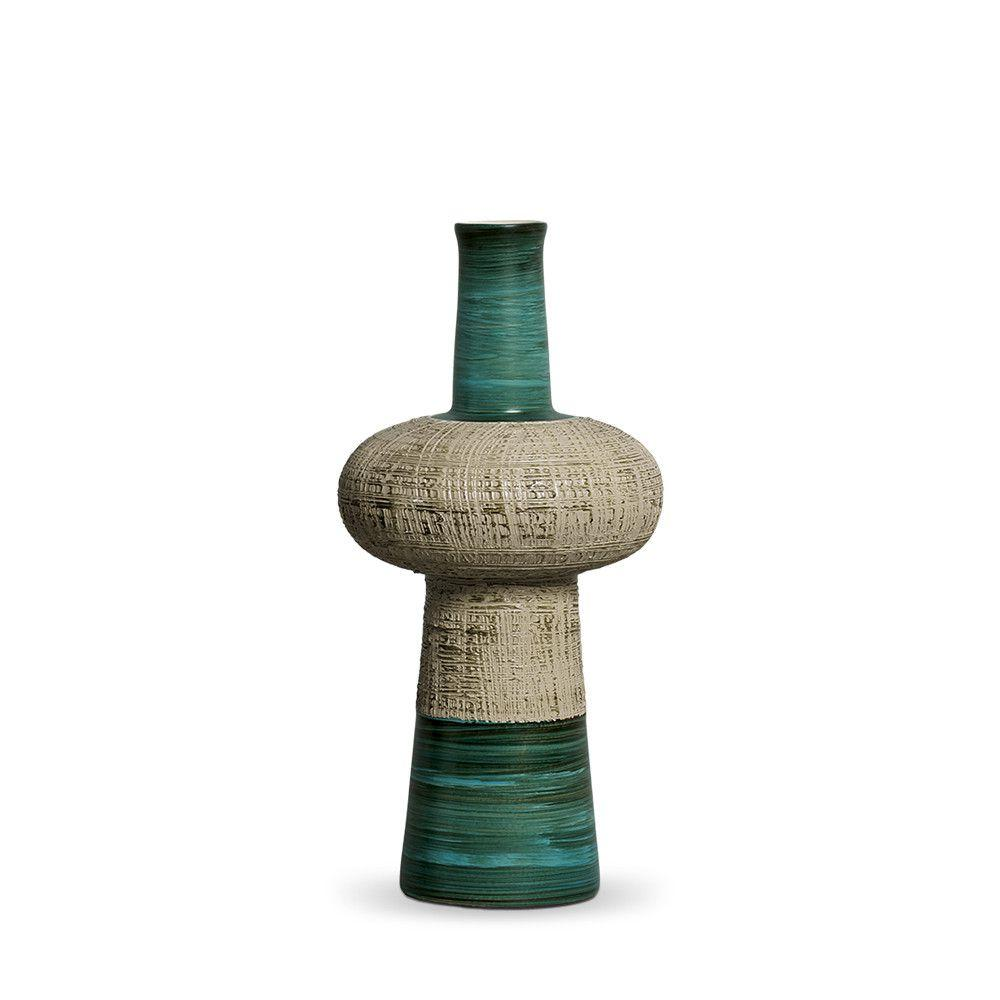 Vaso Fênix P Decoração Em Cerâmica Verde E Palha Dubai