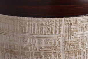 Pote Bojudo Decoração Textura Marrom e Palha Ganash Enfeite
