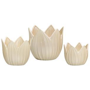 Vaso Cachepot Folha Trio Enfeite De Mesa Cerâmica Creme