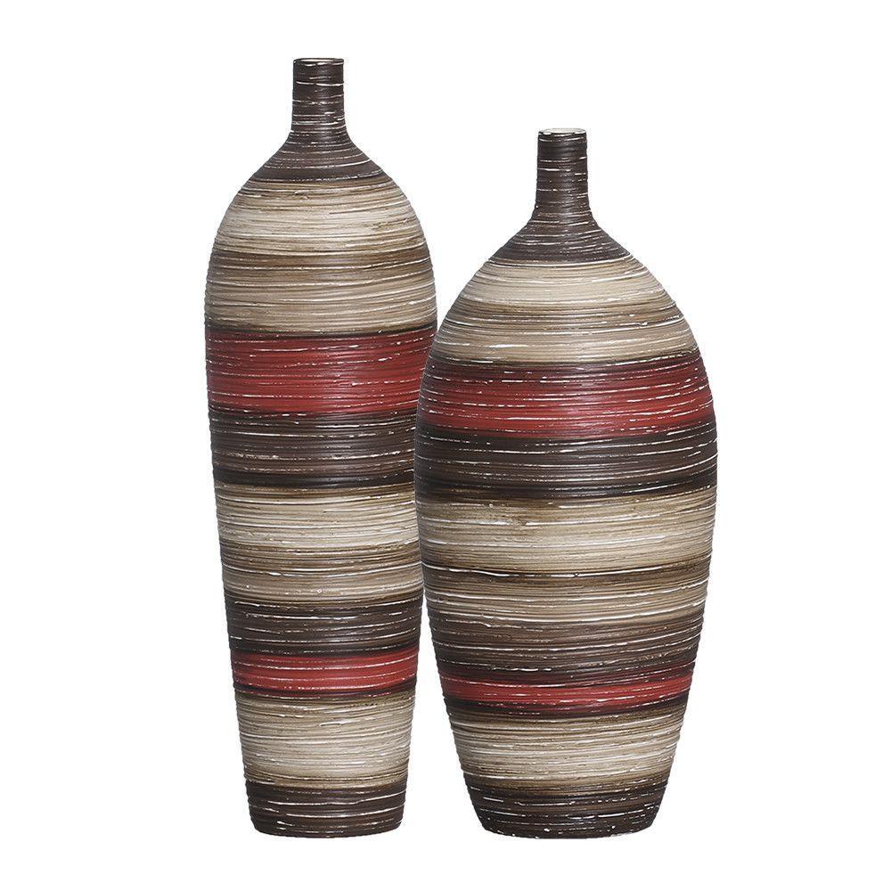 Garrafa Vaso Lisboa Textura Vermelho e Marrom Terracota