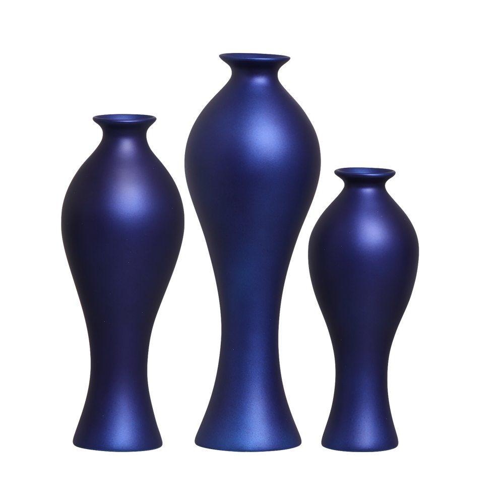 Trio Vaso Califórnia Decoração Em Cerâmica Azul Royal